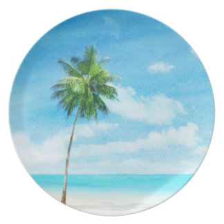 Watercolor grunge image of beach plates