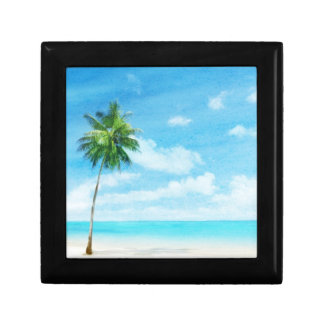 Watercolor grunge image of beach small square gift box