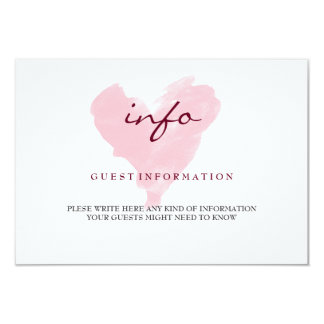 Watercolor Guest Information Card 9 Cm X 13 Cm Invitation Card