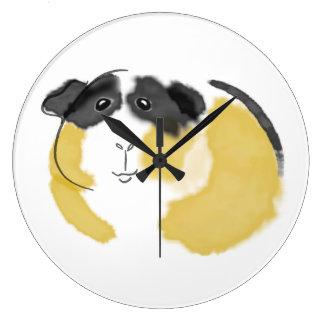 Watercolor Guinea Pig Large Clock
