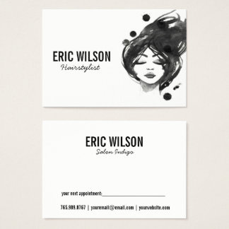 Watercolor Hairstylist Business Card