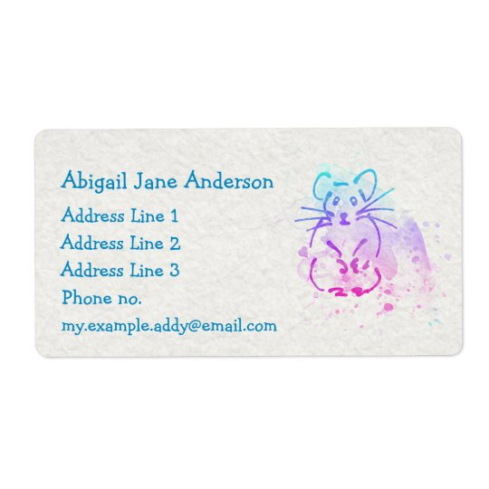 Watercolor Hamster Design - Personalise this Cute Shipping Label