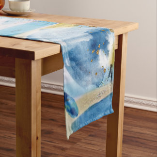 Watercolor hand paint abstract art short table runner