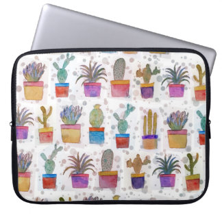 Watercolor hand paint cactus pattern laptop sleeve