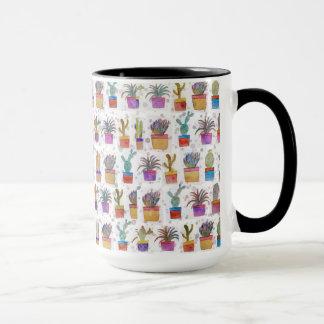 Watercolor hand paint cactus pattern mug