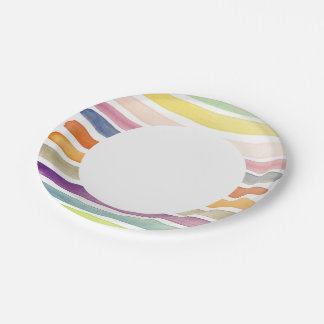 Watercolor hand painted brush strokes, banners. paper plate