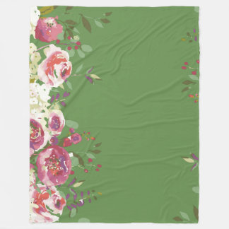 Watercolor hand painted roses fresh garden fleece blanket