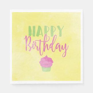 Watercolor Happy Birthday Cupcake Paper Serviettes