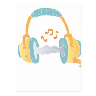 watercolor headphone. postcard