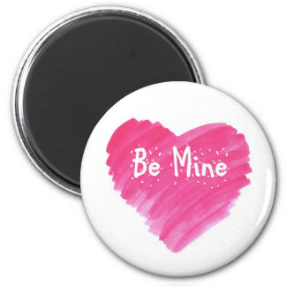 Watercolor Heart  - Be Mine 6 Cm Round Magnet