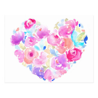 Watercolor Heart. Flower Heart Postcard