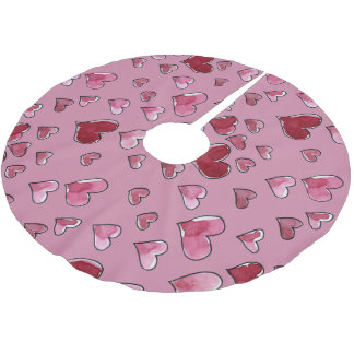 Watercolor Heart in Love Valentine's Day Brushed Polyester Tree Skirt