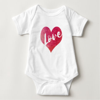 Watercolor Heart Love   Bodysuit