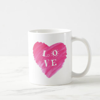Watercolor Heart LOVE Design Basic White Mug