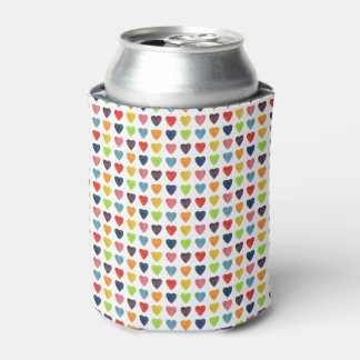 Watercolor Heart Pattern Can Cooler