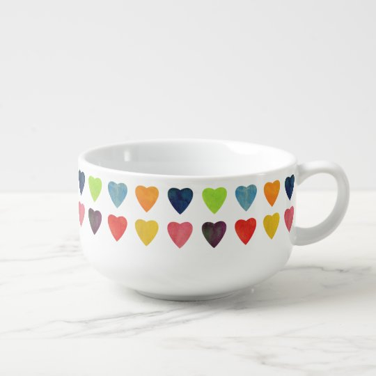 Watercolor Heart Pattern Soup Bowl With Handle
