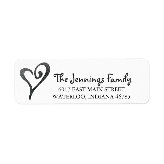 Watercolor Heart Return Address Label