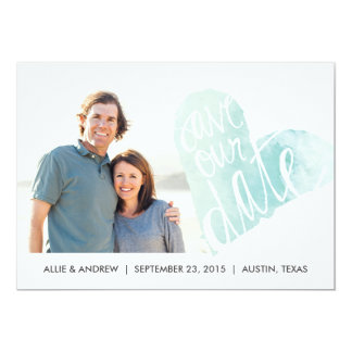Watercolor Heart Save the Date Announcement 13 Cm X 18 Cm Invitation Card