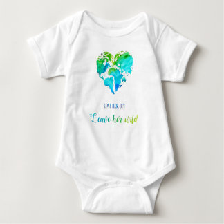 Watercolor Heart Shaped Map with Quote for Baby Baby Bodysuit