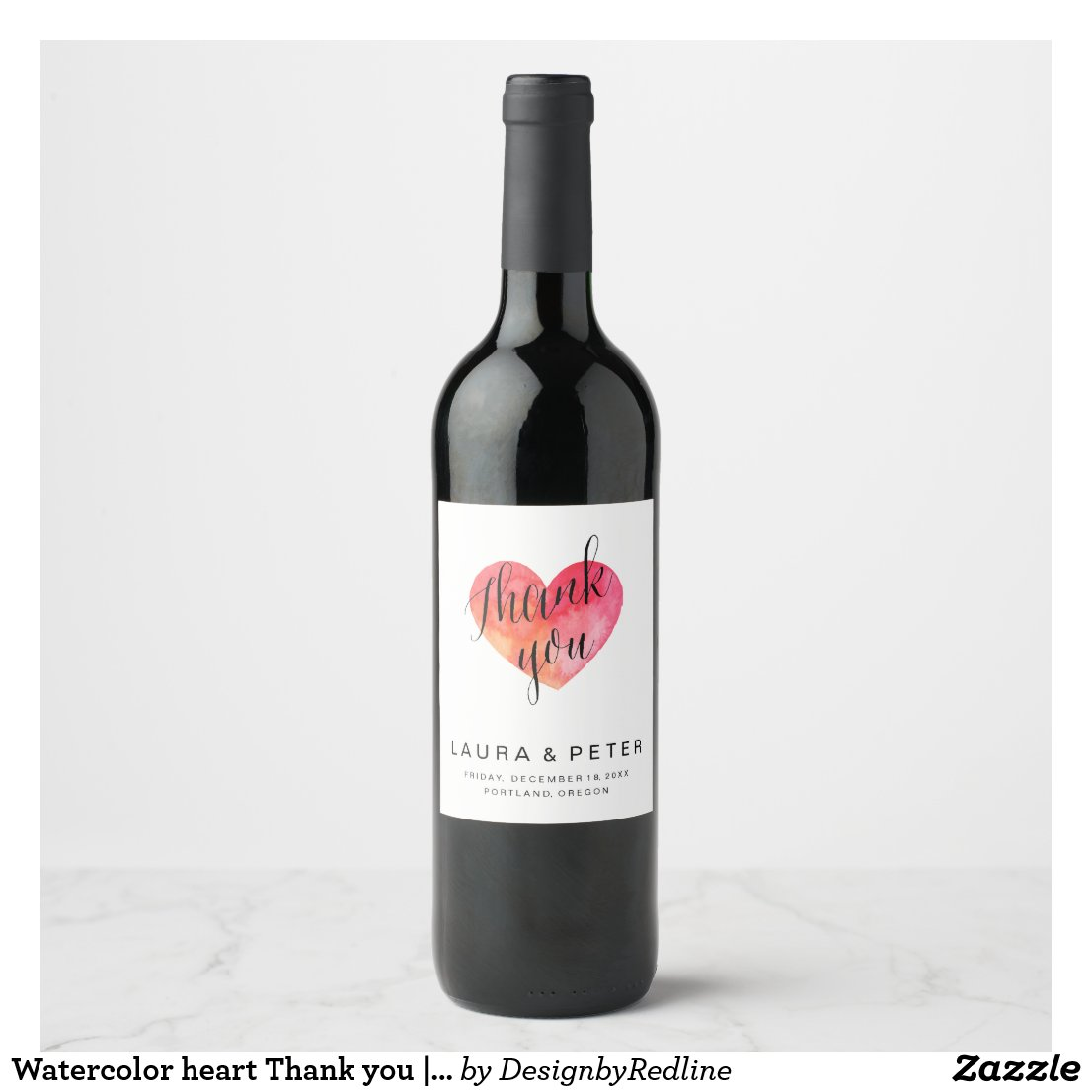 Watercolor heart Thank you wine labels