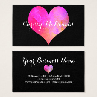 Watercolor Heart with Personalised Information Business Card