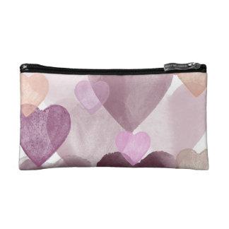 Watercolor Hearts Makeup Bag