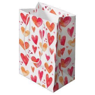Watercolor HEARTS Medium Gift Bag