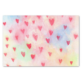 watercolor hearts pattern tissue paper