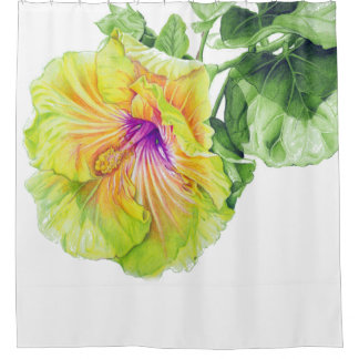 Watercolor Hibiscus Flower Shower Curtain