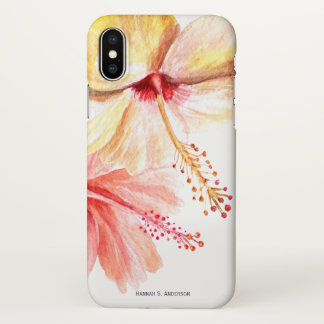 Watercolor Hibiscus Flower Up Close & Personalized iPhone X Case