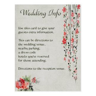 Watercolor Hibiscus Flower Wedding Info Postcard