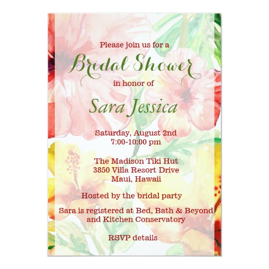 Watercolor Hibiscus Flowers Bridal Shower Card