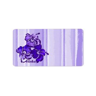 Watercolor Hibiscus Hawaiian Tropical Label