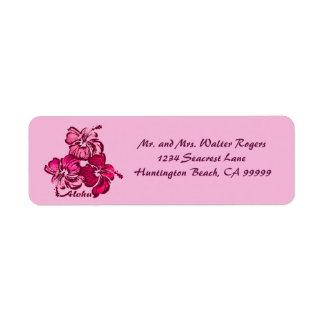Watercolor Hibiscus Hawaiian Tropical Return Address Label