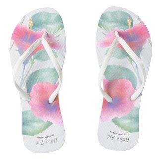 Watercolor Hibiscus Maui Wedding Flip Flops