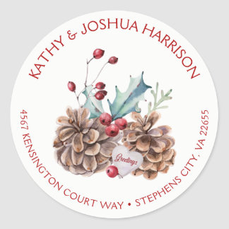 Watercolor Holly Berries Pine Cones Address | Classic Round Sticker