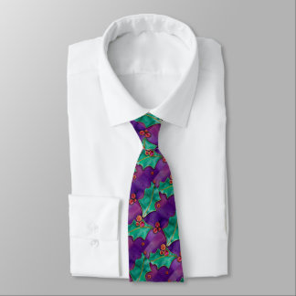 Watercolor Holly Berries Purple Green Red Holiday Tie