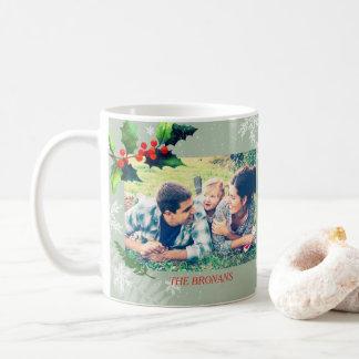 Watercolor Holly Berry Holiday Photo Coffee Mug