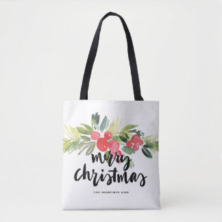 Watercolor Holly Brush Lettering Merry Christmas Tote Bag