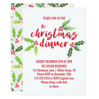 Watercolor Holly Christmas Dinner Card
