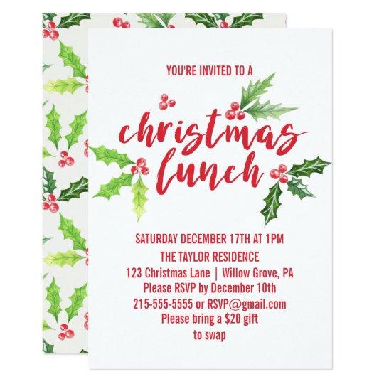 watercolor holly christmas lunch invitation  zazzlecouk