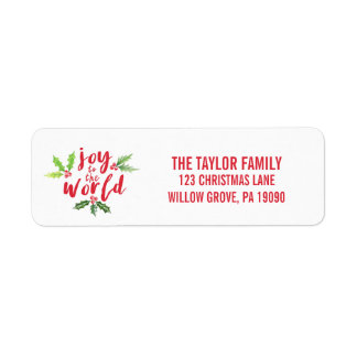 Watercolor Holly Joy to the World Christmas Return Address Label