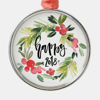 Watercolor Holly Wreath Happy New Year 2018 Christmas Ornament