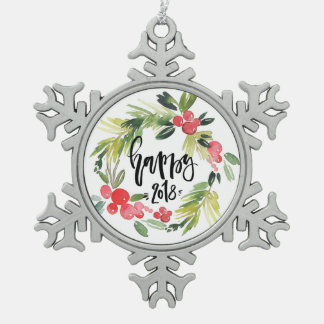 Watercolor Holly Wreath Happy New Year 2018 Snowflake Pewter Christmas Ornament