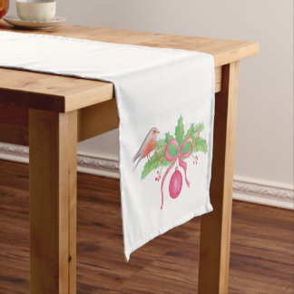 Watercolor Holly Wreath Merry Christmas Short Table Runner