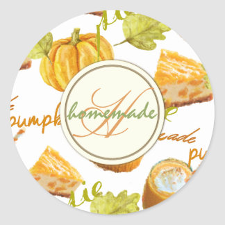 Watercolor Homemade Pumpkin Pie & Treats Monogram Classic Round Sticker