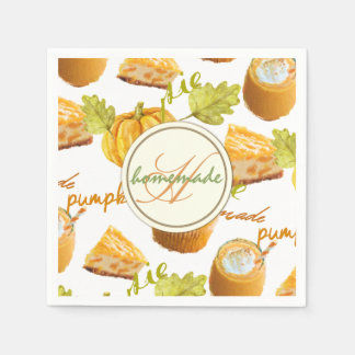 Watercolor Homemade Pumpkin Pie & Treats Monogram Disposable Serviette