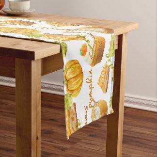 Watercolor Homemade Pumpkin Pie & Treats Monogram Short Table Runner