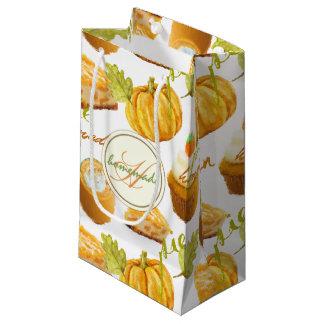 Watercolor Homemade Pumpkin Pie & Treats Monogram Small Gift Bag