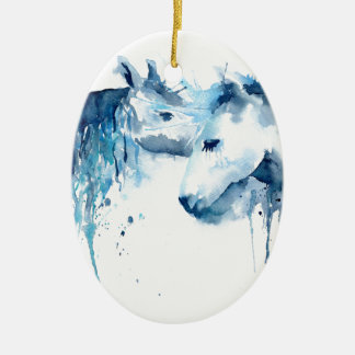Watercolor horse kiss, horse love christmas ornament